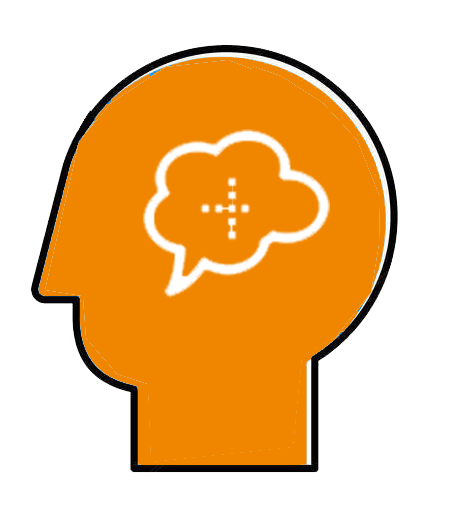 an orange head in profile, with a thought bubble inside and a mini crossword inside the thought bubble